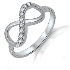 Oxidized Promise Rope Infinity Round Cut Ring CZ White Sapphire Sterling Silver