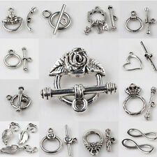 Lots Tibet Silver Crown Hook Eye Toggle Clasps Connectors Findings DIY