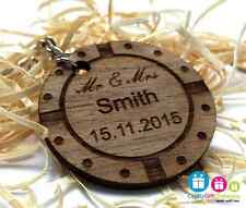 Personalised poker chip keyring - Real Walnut wood - Gift present in best man