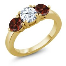 2.40 Ct White Created Sapphire Red Garnet 18K Yellow Gold Plated Silver Ring
