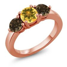 1.62 Ct Round Yellow Citrine Brown Smoky Quartz 18K Rose Gold Plated Silver Ring