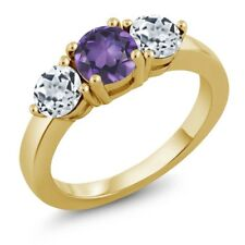 1.95 Ct Round Purple Amethyst White Topaz 18K Yellow Gold Plated Silver Ring