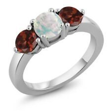 1.85 Ct Round Cabochon White Simulated Opal Red Garnet 925 Sterling Silver Ring