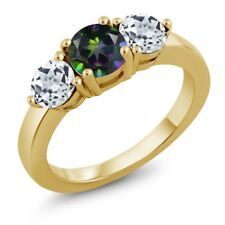 2.20 Ct Round Green Mystic Topaz White Topaz 18K Yellow Gold Plated Silver Ring