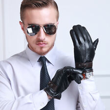 Mens Genuine Lambskin Leather Winter Warm Driving Car Thermal Black Gloves L/XL