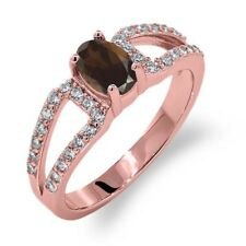 1.23 Ct Oval Brown Smoky Quartz 18K Rose Gold Plated Silver Ring