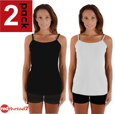 Womens Cami Singlet 2 Pack Stretch Tank Tshirt Tee Camisole Work Top Black White