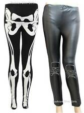 Ladies Wet Look Halloween Full Length Skull Bones Print & Skeleton Bone Print