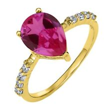 3.74 Ct Pear Shape Pink Created Sapphire 18K Yellow Gold Plated Silver Ring
