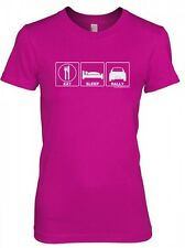 LADIES T-SHIRT EAT SLEEP RALLY PINK Subaru WRX STi Mitsubishi Evo Colin McRae