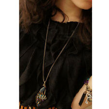 etro Style Enamel Peacock Chain Necklace Charm Animal Pendant
