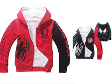 Spiderman Costume Kids Boys Girls Winter Thick Zipper Hoodies Coat Jacket 4Y-9Y