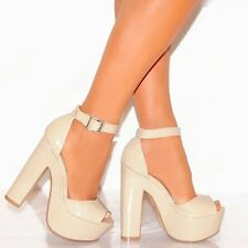 LADIES BLACK WHITE NUDE PEEP TOE ANKLE STRAP BLOCK HIGH HEELS PLATFORMS SHOES
