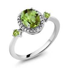 1.48 Ct Oval Green Peridot with Diamond Accent 925 Sterling Silver Women's Ring