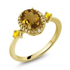 1.18 Ct Oval Whiskey Quartz 18K Yellow Gold Plated Silver Ring w/ Accent Diamond