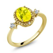 1.47 Ct Oval Canary Mystic Topaz White Topaz 18K Yellow Gold Plated Silver Ring