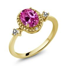 1.79 Ct Pink Created Sapphire White Diamond 18K Yellow Gold Plated Silver Ring