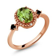 1.47 Ct Oval Green Peridot Black Diamond 18K Rose Gold Plated Silver Ring