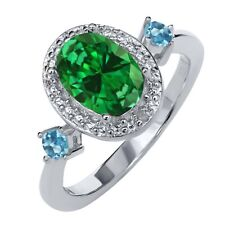 2.27 Ct Oval Green Simulated Emerald Swiss Blue Topaz 925 Sterling Silver Ring