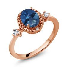 1.47 Ct Sapphire Blue Mystic Topaz White Topaz 18K Rose Gold Plated Silver Ring