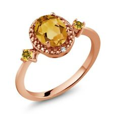 Citrine and Simulated Citrine 18K Rose Gold Plated Silver Ring w/ Accent Diamond