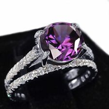 White Gold Amethyst Wedding Engagement Eternity Sterling Silver Ring Set