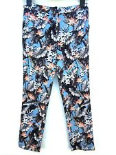 TOPSHOP TROPICAL FLORAL PRINT CROP CIGARETTE TROUSERS SIZE 34 36