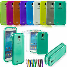 Clear Jelly Gel TPU Case Cover For Samsung Galaxy S4 S IV i9500 + Stylus + Film