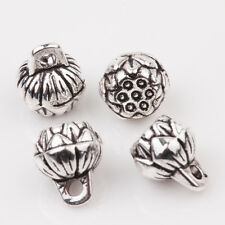 10/20Pcs Tibet Silver Charms Carved Bud Round Bead Pendant Necklace DIY 9x8mm