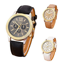 Fashion Women Geneva Watch Leather Band Dress Watches Analog Quartz Wrist Watch