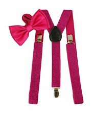 Unisex VALENTINE HOT Pink Bow Tie and HOT Pink Glitter Adjustable Suspenders-New