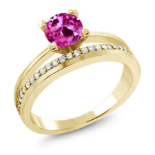 1.25 Ct Round Pink Created Sapphire 18K Yellow Gold Plated Silver Ring