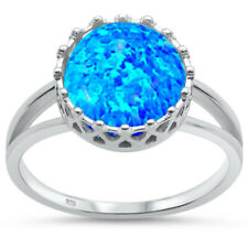 Fashion Crown Blue Fire Opal Round Cut Genuine Sterling Silver Ring Size 3 - 12