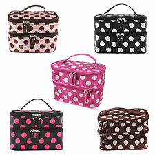 Makeup Cosmetic Bag Travel Case Dots Beauty Organizer Zipper Holder Handbag