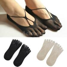 Footful 1 Pair Womens Sexy Invisible Fishnet Boat Socks Elastic Mesh Five Toes