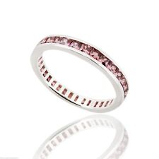June Birthstone Ring - 925 Sterling Silver - Alexandrite CZ Eternity Band Ring