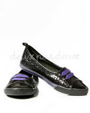 Deux Par Deux Girls Black Sequined Skimmers Shoes Sizes 13, Y1, Y2 $38 NWT