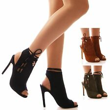 LADIES WOMENS LACE UP SHOES HIGH HEEL PEEP TOE TIE UP STILETTO FASHION SIZE