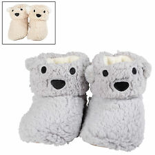 Ladies Plush Super Soft Comfy Bear Face Novelty Animal Bootie Slippers New
