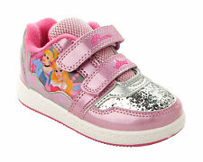 GIRLS PINK OFFICIAL DISNEY PRINCESS GLITTER TRAINERS SHOES INFANTS UK SIZE 6-12