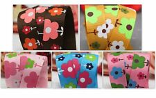 "3 to 18m 16mm 5/8"" wide Flower Garden Printed Grosgrain Ribbon Pink Blue Brown"