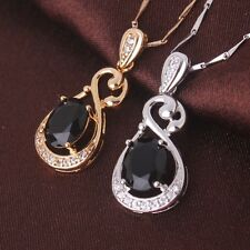 18k gold filled promise oval black sapphire Pendant Exquisite necklace