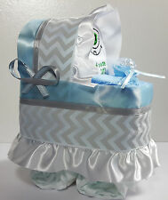 Diaper Cake Bassinet Carriage Baby Shower Boys - Blue/Silver w/Bib & Washcloth