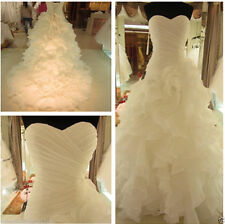 New Organza White/ivory Wedding Dress Bridal Gown stock Size:6 8 10 12 14 16 18