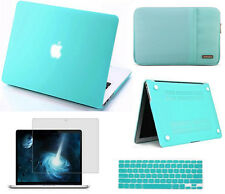4in1 turquoise Rubberized hard case frost matte cover For Apple macbook Pro Air