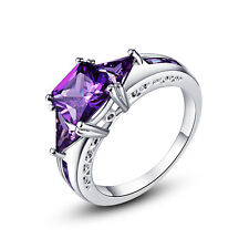 Princess Cut 18K White Gold Filled Jewelry Amethyst Gemstone Ring Sz 6 7 8 9 10