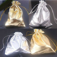25/50Pcs Golden/Silver Organza Wedding Party Favor Candy Pouch Gift Bags 12x9cm