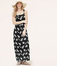 NWT Ann Taylor LOFT Summer Leaf Knit Maxi Beach Long Relax Black Dress Size S/M