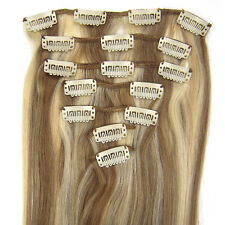 100% Remy Human Hair Extensions 7PCS Set Clip in Hair 15''-22'' Long #12/613