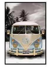 Gloss Black Framed Californian VW Camper Van Maxi Poster 61x91.5cm